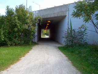 Tunnel under road on IPP bike path