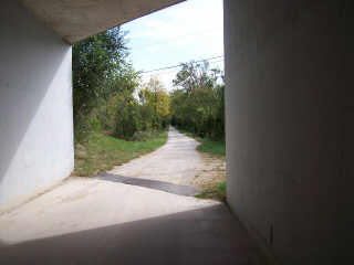 Inside of bike path tunnel