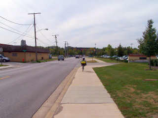 Fox River Trail on sidewalks through Elgin