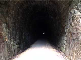 Entering tunnel #2 on Elroy Sparta Trail