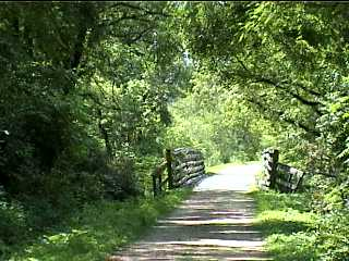 Scenic old bridge on bike trail
